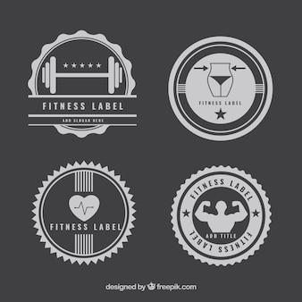 Colección de insignias monocromo de gimnasio