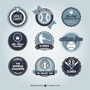 Colección de insignias retro de béisbol