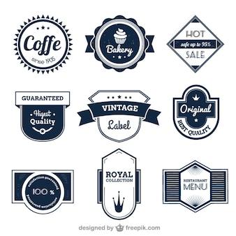 Colección de insignias variadas estilo vintage