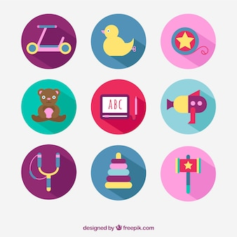 Colección de juguetes de colores