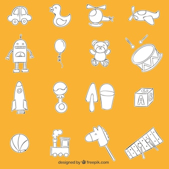 Colección de juguetes esbozados