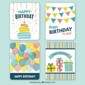 Colección de las tarjetas del feliz cumpleaños