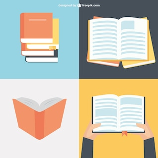 Colección de libros en diseño plano