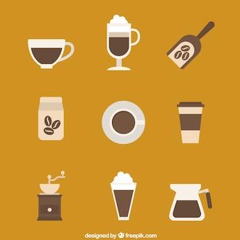 Colección de los iconos de café