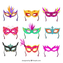 Colección de máscaras de carnaval coloridas