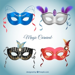 Colección de mascaras de carnaval para un carnaval mágico