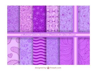 Colección de patrones de fondo morados