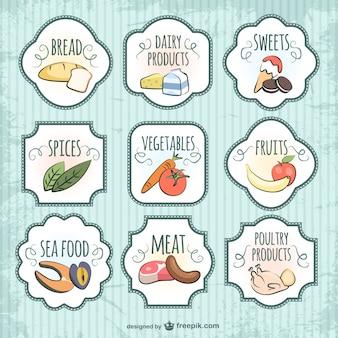 Colección de pegatinas de alimentos