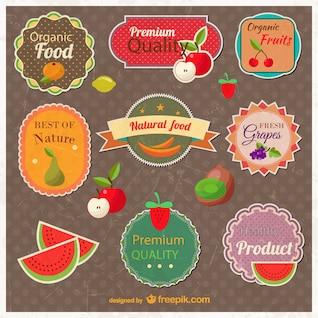 Colección de pegatinas de frutas