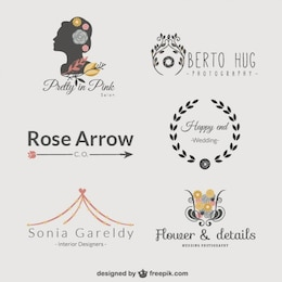 Colección de plantillas de logotipo florales