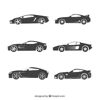 Colección de siluetas de coches