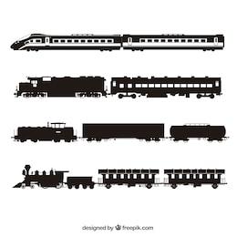 Colección de siluetas de trenes