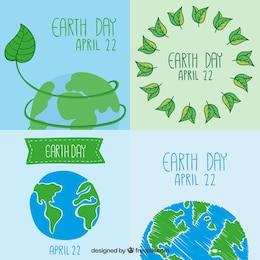 Colección de tarjetas del día de la tierra