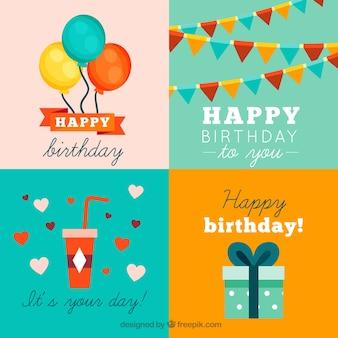 Colección de tarjetas del feliz cumpleaños