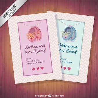 Colección de tarjetas lindas de bienvenida del bebé