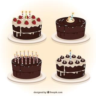 Colección de tartas de cumpleaños de chocolate