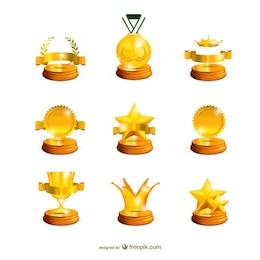 Colección de trofeos de oro