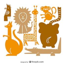 Colección de vectores de animales salvajes