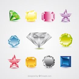 Colección de vectores de piedras preciosas
