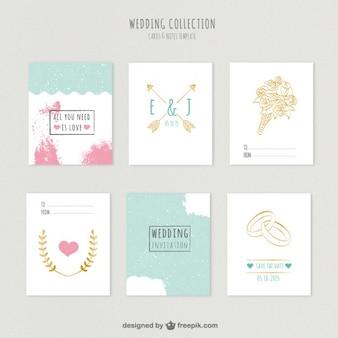 Colección linda invitaciones de boda