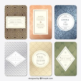 Colección retro de tarjetas de boda