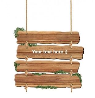 colgando signo tablón de madera psd