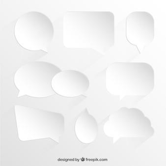 Colección de burbujas de diálogo blancas