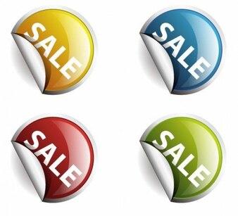 colores alrededor de las etiquetas o pegatinas para la venta