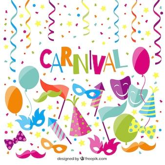 Elementos coloridos de fiesta de carnaval