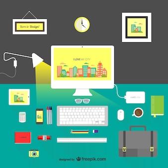 Escritorio de diseñador a color