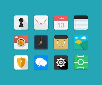 Coloridos iconos planos psd