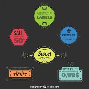 Etiquetas retro de colores