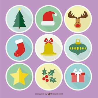 Iconos coloridos de navidad ronda