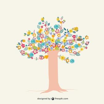 Árbol colorido con las flores