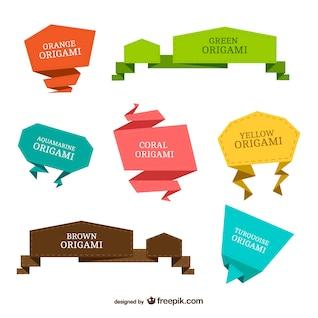 Coloridas etiquetas de origami