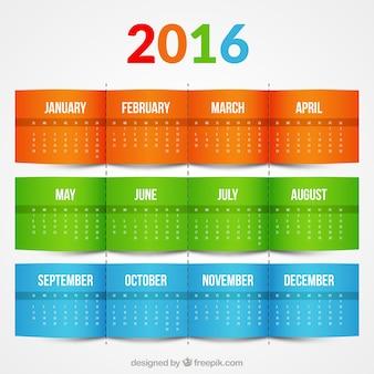 Colorido calendario 2016