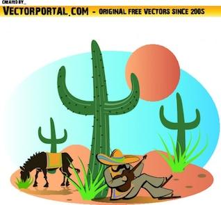 Colorido paisaje mexicano con mariachi y cactus