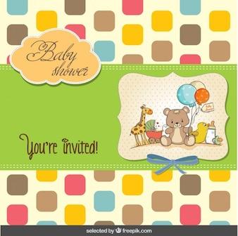 Colorido Tarjeta de Baby Shower con cuadrado redondeado