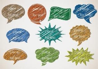 Coloridos cuadros de diálogo en el estilo grunge