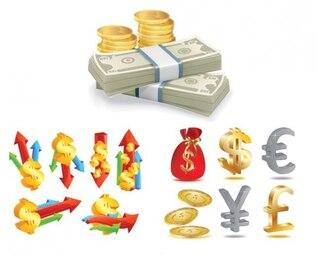 Comercio electrónico negocio bancario conjunto de iconos vectoriales