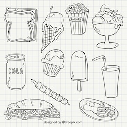 Comida rápida dibujada a mano