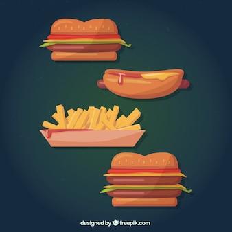 Comida rápida en estilo de dibujos animados