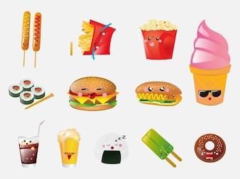 Comida rápida frente a vectores de dibujos animados
