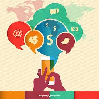Infografía mundial retro de comunicación