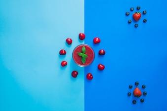Composición de círculos de frutas