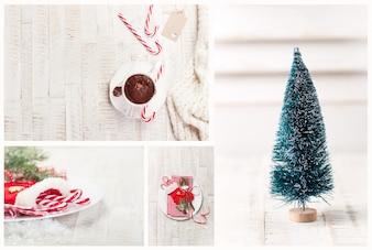 Composicion navideña de árbol y decoraciones