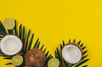 Composición veraniega con limas, cocos y espacio en blanco