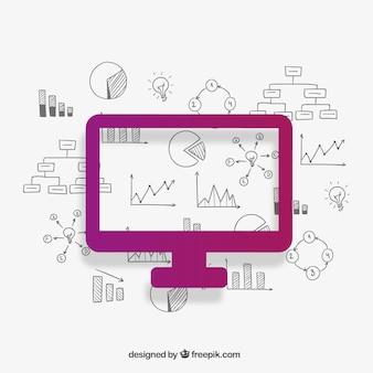 Pantalla de ordenador e iconos de negocio