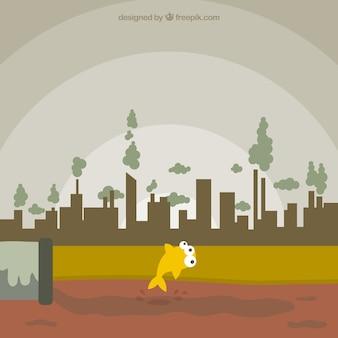Concepto ciudad contaminada