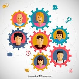 Concepto de trabajo en equipo con engranajes